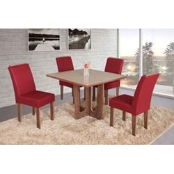 Conjunto De Mesa Quadrada Olinda Pequena Com 04 Cadeiras Nova Romana Com Aplique