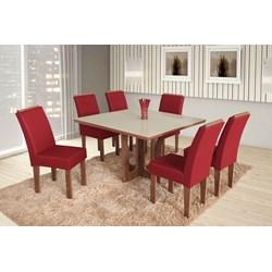 Conjunto De Mesa Quadrada Olinda Grande Com 06 Cadeiras Nova Romana Com Aplique