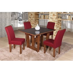 Conjunto De Mesa Retangular Olinda Pequena Com 04 Cadeira Nova Romana Com Aplique