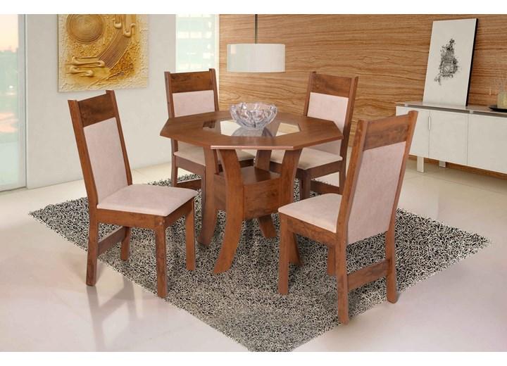 Conjunto De Mesa Oitavada Nova Munique Com 04 Cadeiras Priscilla