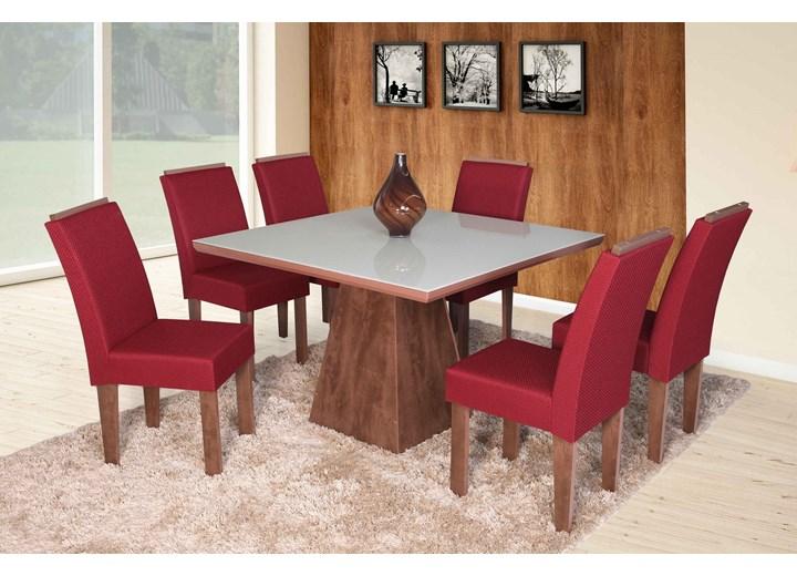 Conjunto De Mesa Quadrada Florença Grande Com 06 Cadeiras Nova Romana Com Aplique