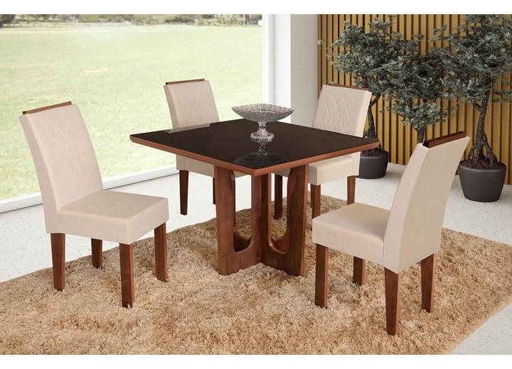 Conjunto De Mesa Quadrada Olinda Pequena Com 04 Cadeiras Florença Com Aplique