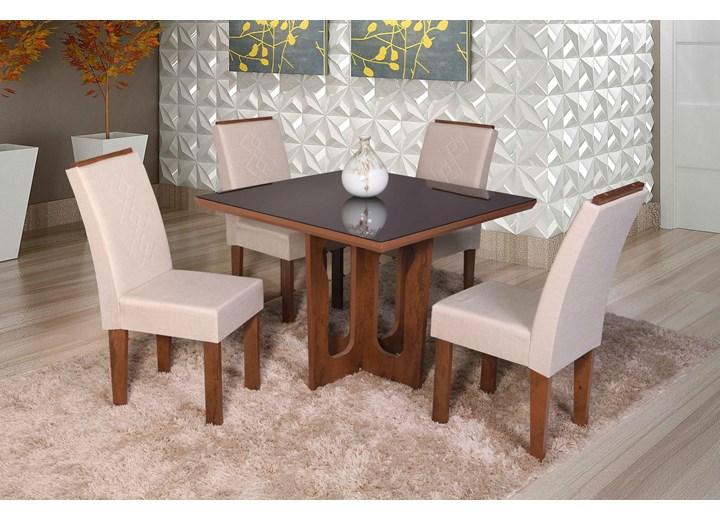 Conjunto De Mesa Quadrada Olinda Pequena Com 04 Cadeiras Recife Com Aplique