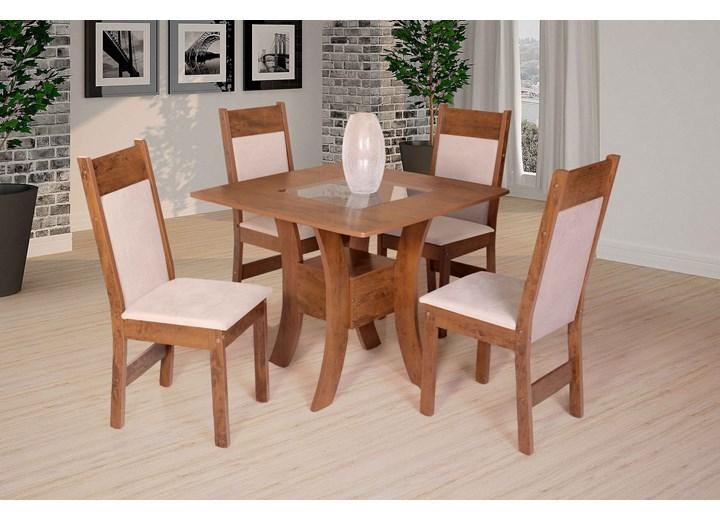 Conjunto De Mesa Quadrada Priscilla Com 04 Cadeiras Priscilla