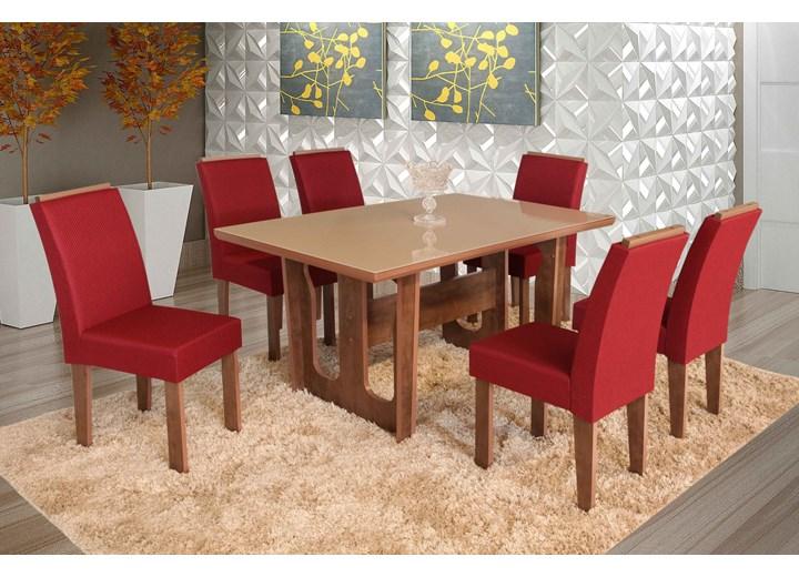 Conjunto De Mesa Retangular Olinda Grande Com 06 Cadeiras Nova Romana Com Aplique
