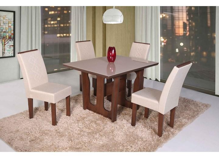 Conjunto De Mesa Retangular Olinda Pequena Com 04 Cadeiras Recife Com Aplique