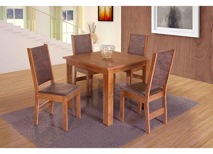 Conjunto De Mesa Quadrada Rosa Com 04 Cadeiras
