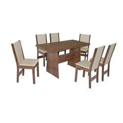 Conjunto De Mesa Retangular Destak Com 06 Cadeiras Nobre Fosca
