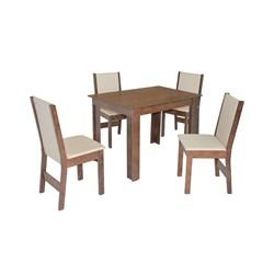 Conjunto De Mesa Retangular Nova Milena Com 04 Cadeiras Nobre Fosca
