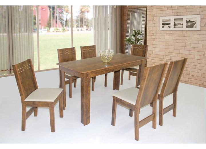 Conjunto De Mesa Retangular Nova Milena Com 06 Cadeiras Elane Fosca