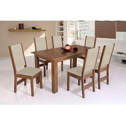 Conjunto De Mesa Retangular Rosa Com 06 Cadeiras